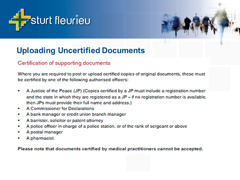 Uploading Uncertified Documents