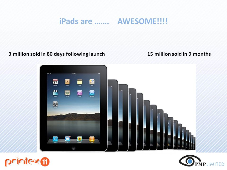 iPads are ……. AWESOME!!!! 3 million sold in 80 days following launch15 million sold in 9 months