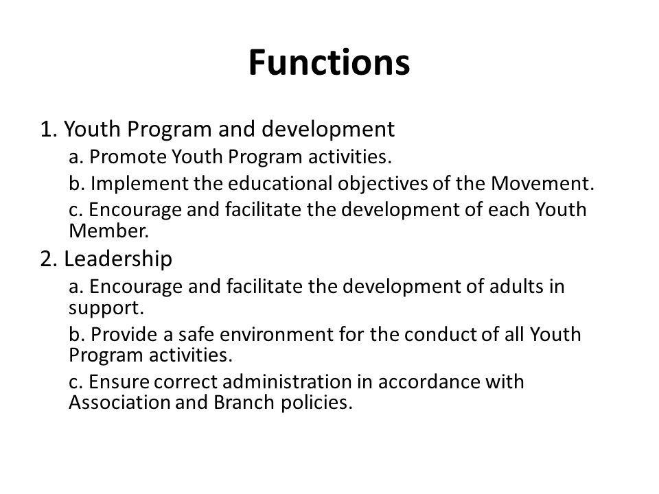 Functions 1. Youth Program and development a. Promote Youth Program activities.