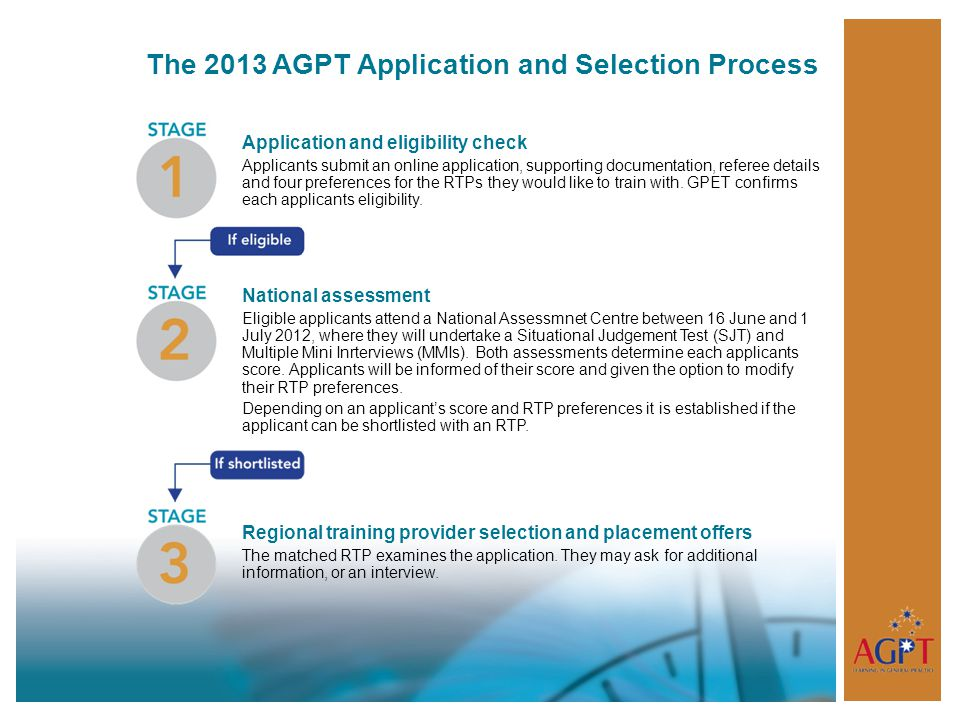 The 2013 AGPT Application and Selection Process Application and eligibility check Applicants submit an online application, supporting documentation, referee details and four preferences for the RTPs they would like to train with.