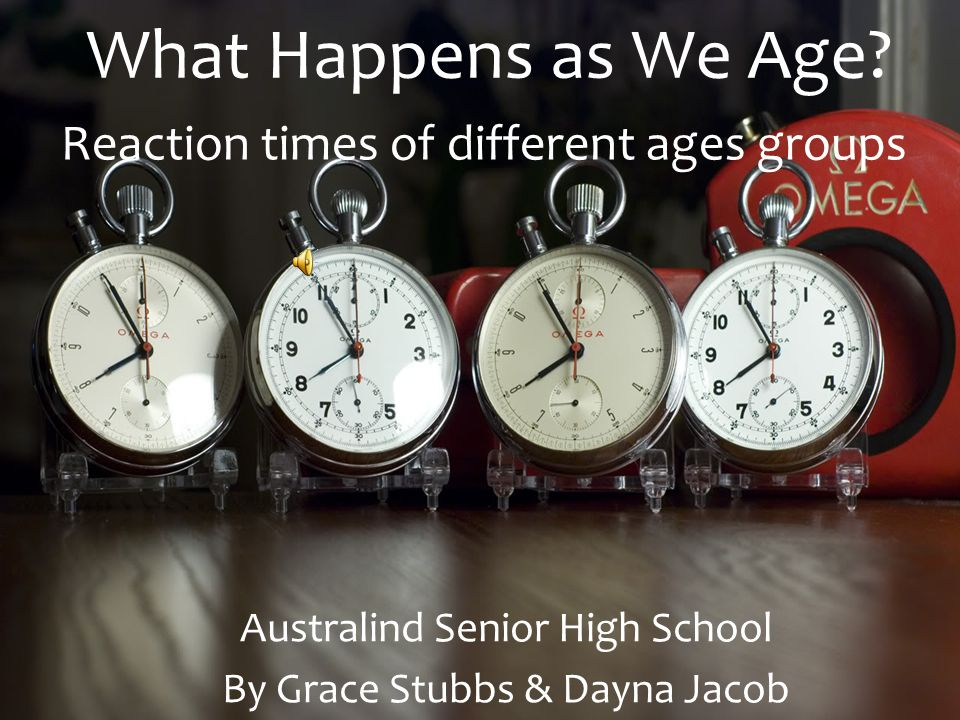 What Happens as We Age? Australind Senior High School By Grace Stubbs & Dayna Jacob Reaction times of different ages groups