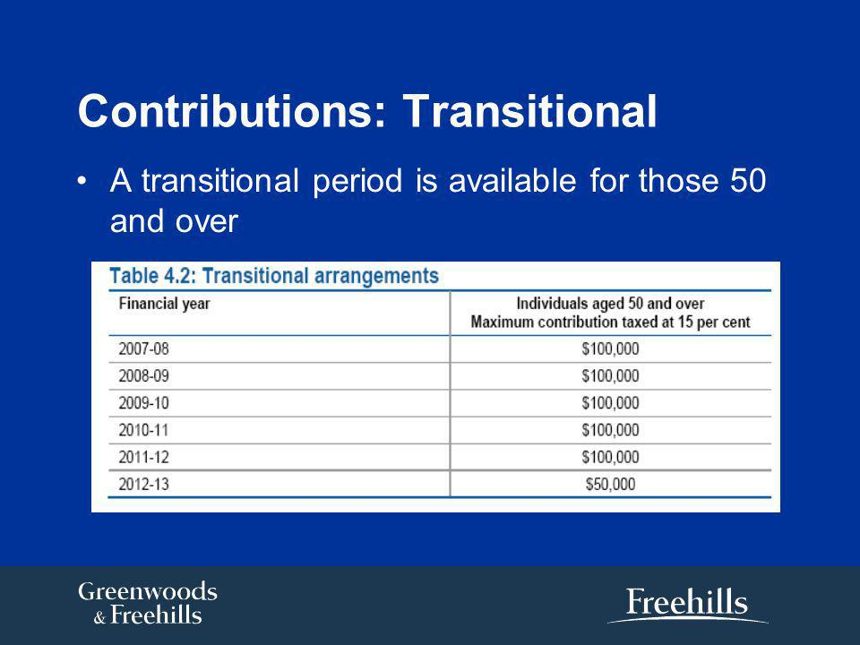 Contributions: Transitional A transitional period is available for those 50 and over