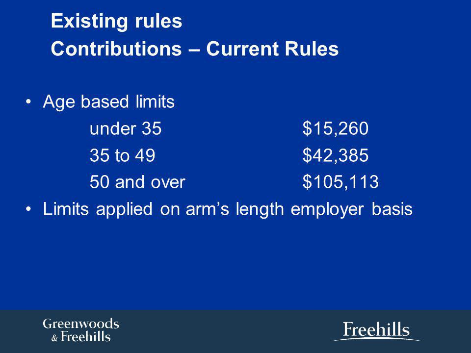 Existing rules Contributions – Current Rules Age based limits under 35 $15,260 35 to 49$42,385 50 and over$105,113 Limits applied on arm's length employer basis