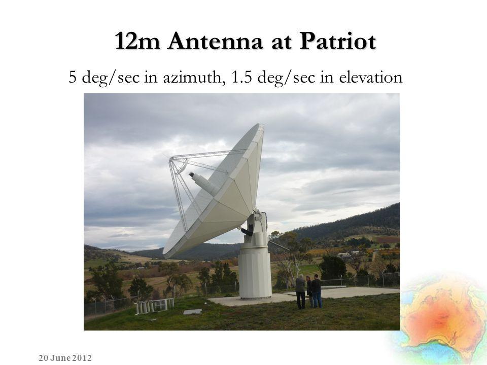 12m Antenna at Patriot 5 deg/sec in azimuth, 1.5 deg/sec in elevation 20 June 2012