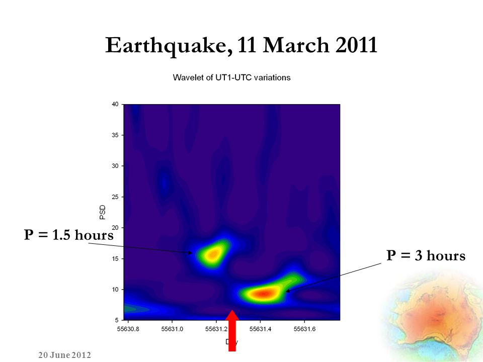 Earthquake, 11 March 2011 20 June 2012 P = 1.5 hours P = 3 hours