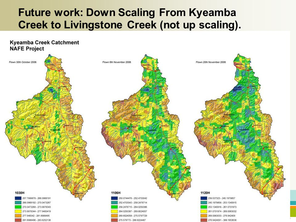 20 Future work: Down Scaling From Kyeamba Creek to Livingstone Creek (not up scaling).