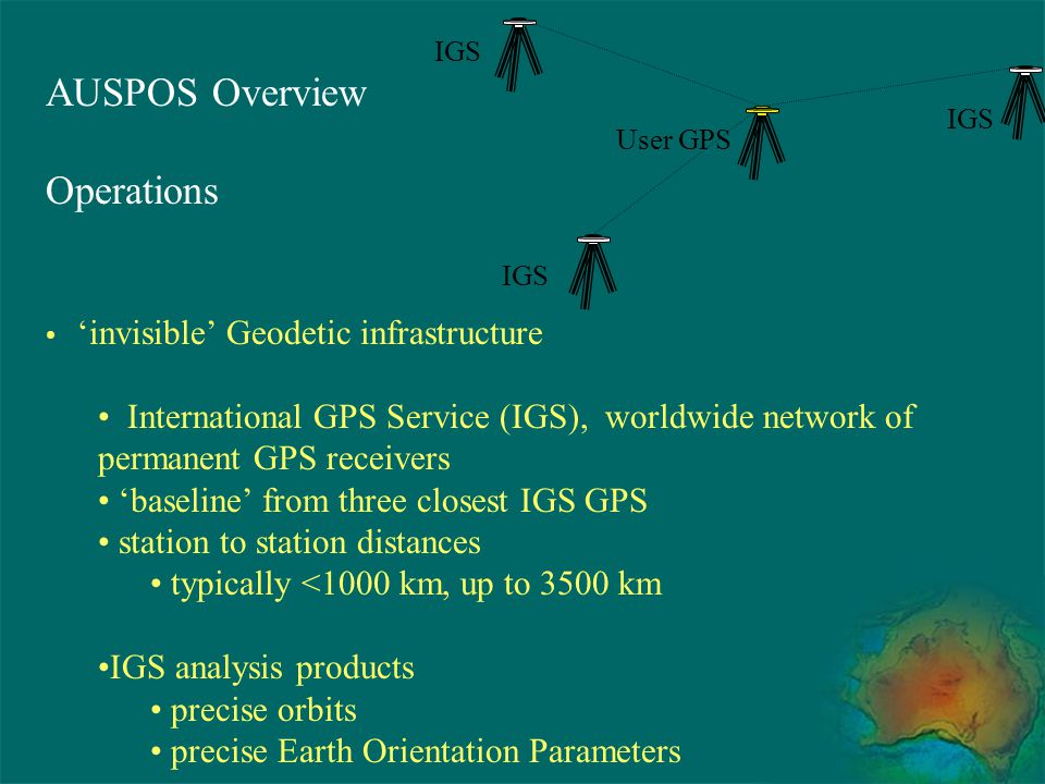 AUSPOS Overview Operations 'invisible' Geodetic infrastructure International GPS Service (IGS), worldwide network of permanent GPS receivers 'baseline