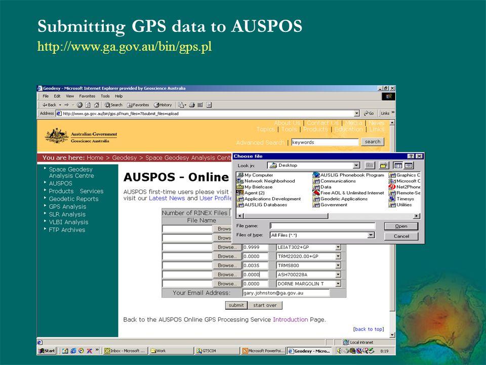 Submitting GPS data to AUSPOS http://www.ga.gov.au/bin/gps.pl