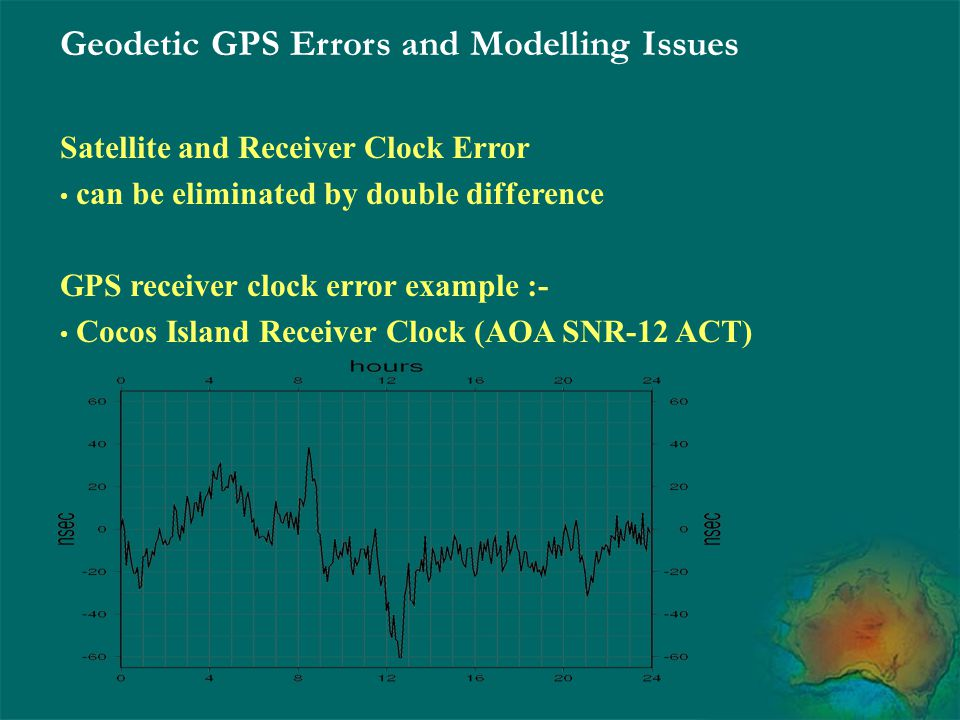 Geodetic GPS Errors and Modelling Issues Satellite and Receiver Clock Error can be eliminated by double difference GPS receiver clock error example :-