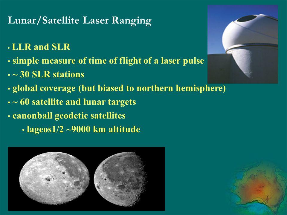 Lunar/Satellite Laser Ranging LLR and SLR simple measure of time of flight of a laser pulse ~ 30 SLR stations global coverage (but biased to northern