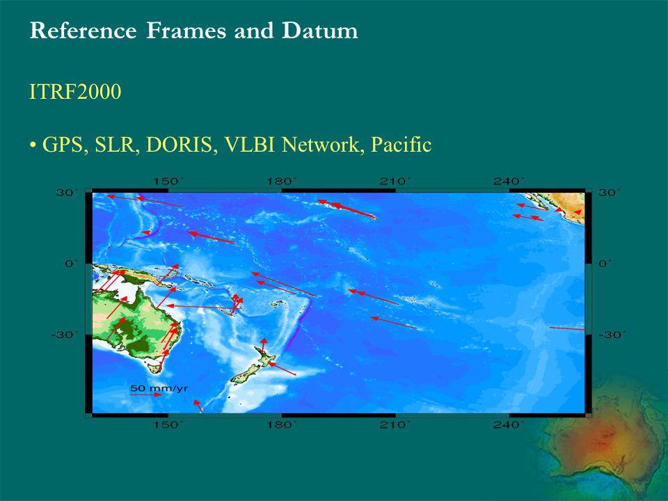 Reference Frames and Datum ITRF2000 GPS, SLR, DORIS, VLBI Network, Pacific