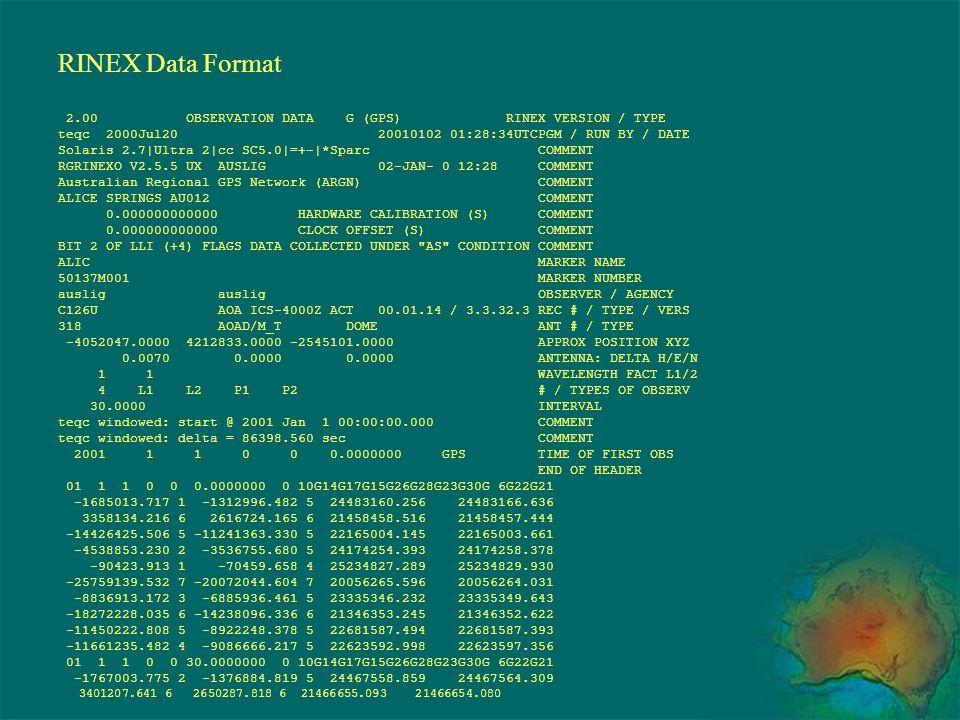 RINEX Data Format 2.00 OBSERVATION DATA G (GPS) RINEX VERSION / TYPE teqc 2000Jul20 20010102 01:28:34UTCPGM / RUN BY / DATE Solaris 2.7|Ultra 2|cc SC5