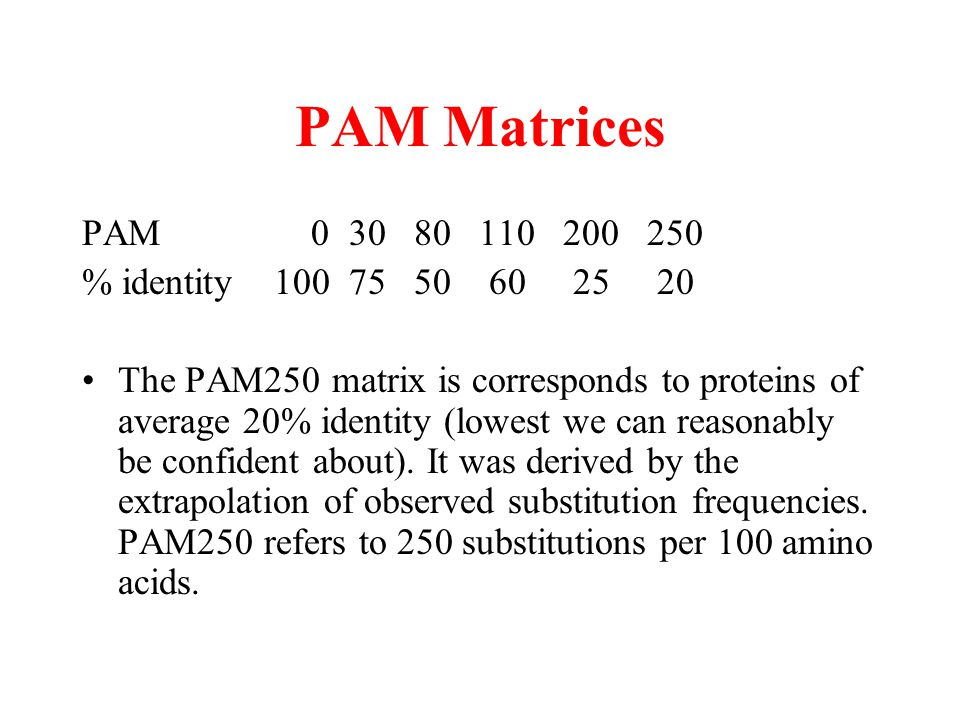 PAM Matrices PAM 0 30 80 110 200 250 % identity100 75 50 60 25 20 The PAM250 matrix is corresponds to proteins of average 20% identity (lowest we can