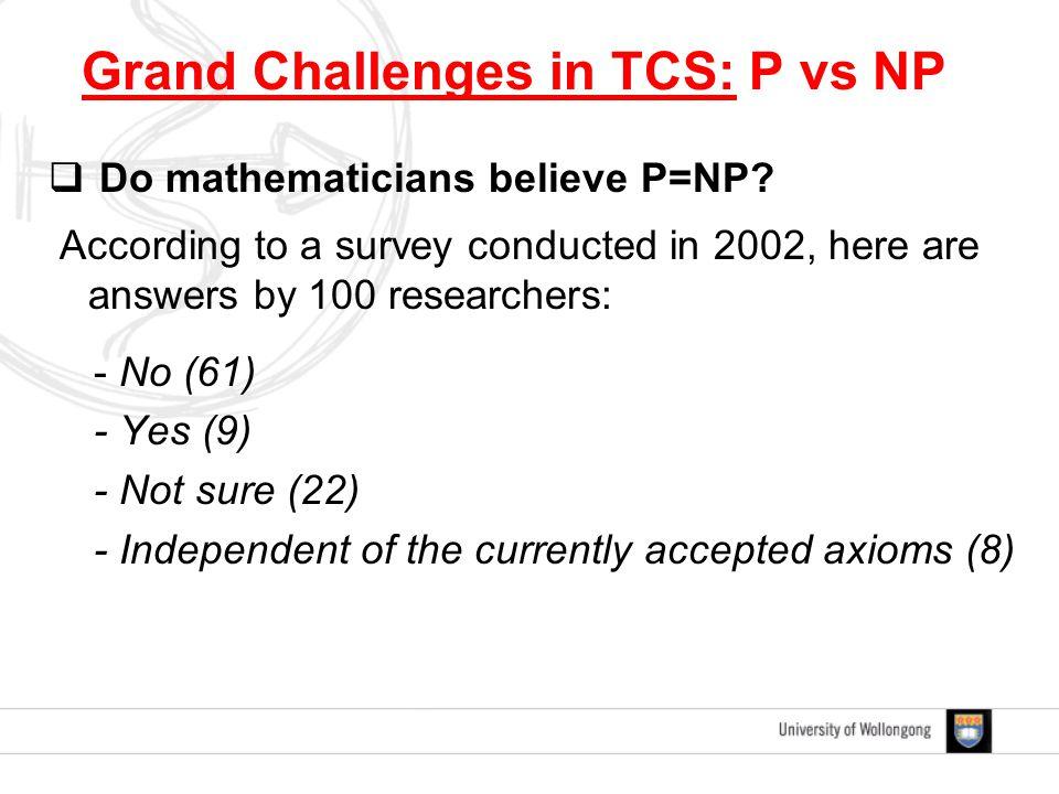  Do mathematicians believe P=NP.
