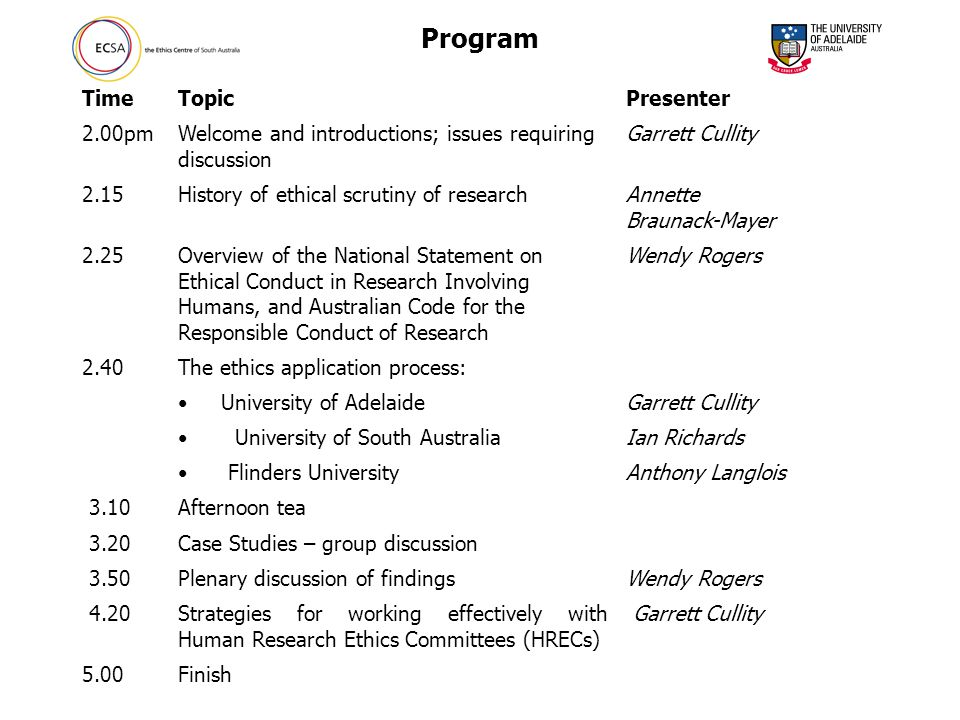 Program TimeTopicPresenter 2.00pmWelcome and introductions; issues requiring discussion Garrett Cullity 2.15History of ethical scrutiny of researchAnnette Braunack-Mayer 2.25Overview of the National Statement on Ethical Conduct in Research Involving Humans, and Australian Code for the Responsible Conduct of Research Wendy Rogers 2.40The ethics application process: University of AdelaideGarrett Cullity University of South AustraliaIan Richards Flinders UniversityAnthony Langlois 3.10Afternoon tea 3.20Case Studies – group discussion 3.50Plenary discussion of findingsWendy Rogers 4.20Strategies for working effectively with Human Research Ethics Committees (HRECs) Garrett Cullity 5.00Finish