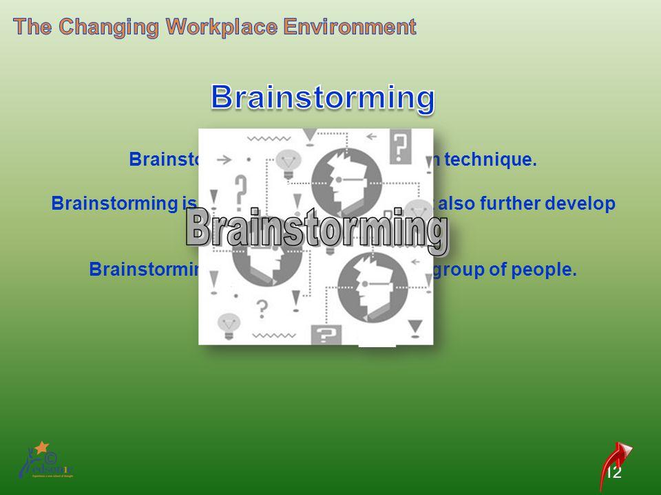 12 Brainstorming is an idea evaluation technique. Brainstorming is used not only evaluate but also further develop ideas. Brainstorming is generally d