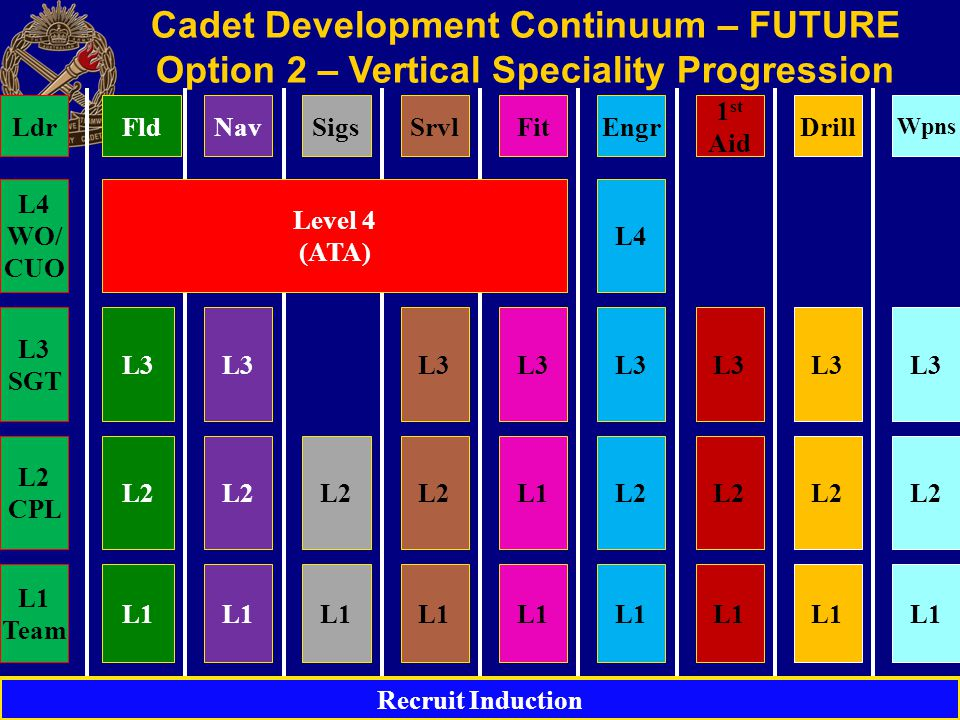 Cadet Development Continuum – FUTURE Option 2 – Vertical Speciality Progression L1 L2 L3 L4 L2 L3 L1 L2 L3 L1 L2 L3 L2 L3 L1 L2 L3 Recruit Induction FldNavSigsSrvlEngr 1 st Aid Drill Wpns Level 4 (ATA) Fit L3 L1 L3 L2 CPL L3 SGT L4 WO/ CUO Ldr L1 Team