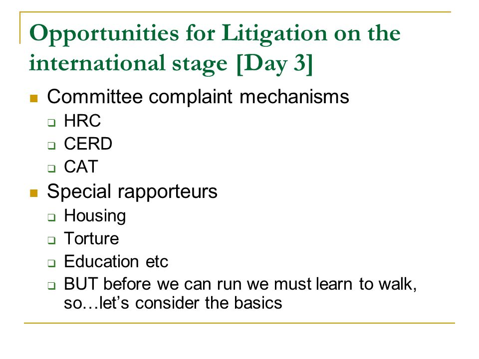 Opportunities for Litigation on the international stage [Day 3] Committee complaint mechanisms  HRC  CERD  CAT Special rapporteurs  Housing  Torture  Education etc  BUT before we can run we must learn to walk, so…let's consider the basics