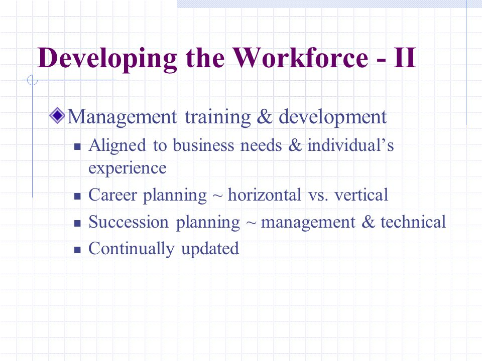 Developing the Workforce - II Management training & development Aligned to business needs & individual's experience Career planning ~ horizontal vs.