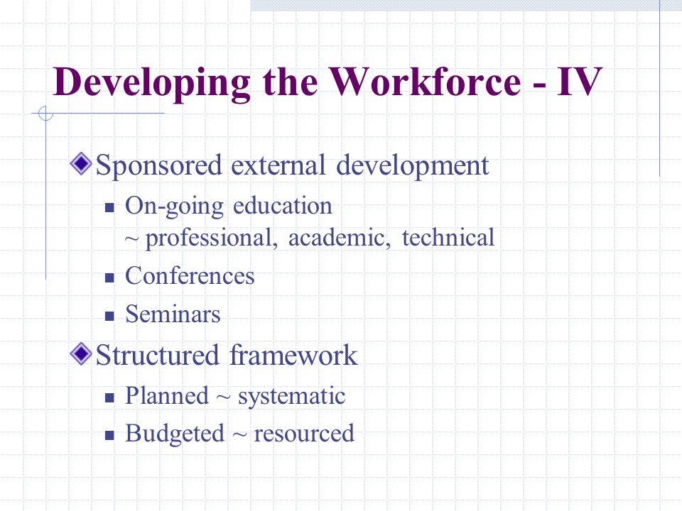 Developing the Workforce - IV Sponsored external development On-going education ~ professional, academic, technical Conferences Seminars Structured framework Planned ~ systematic Budgeted ~ resourced