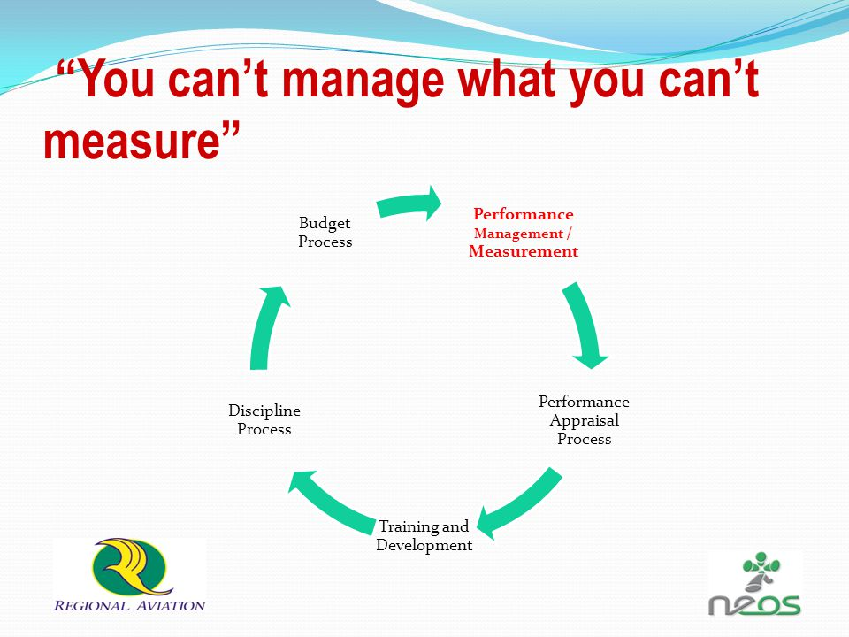 Performance Management / Measurement Performance Appraisal Process Training and Development Discipline Process Budget Process You can't manage what you can't measure