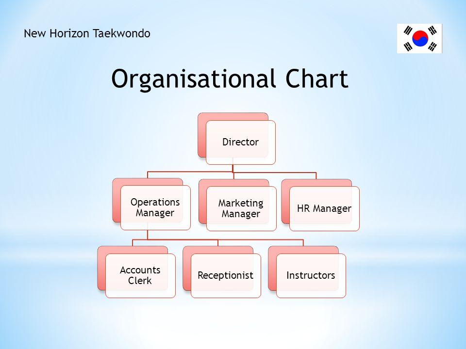 New Horizon Taekwondo DirectorHR Manager Marketing Manager Operations Manager InstructorsReceptionist Accounts Clerk Organisational Chart
