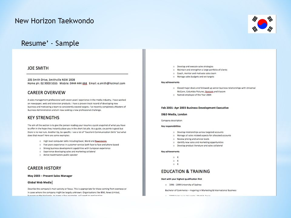 New Horizon Taekwondo Resume' - Sample