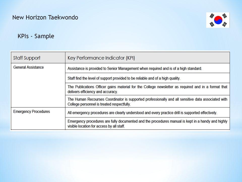 New Horizon Taekwondo KPIs - Sample
