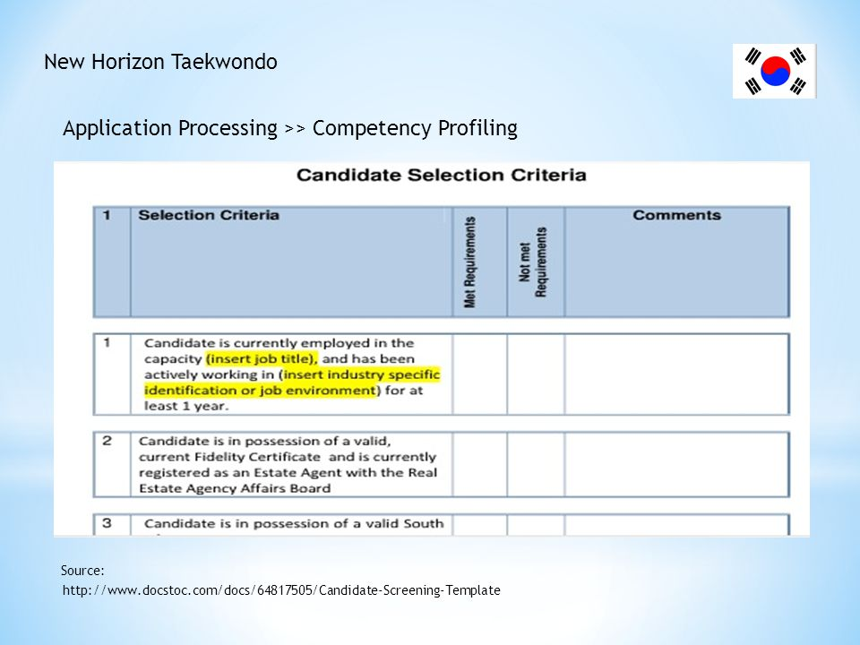 New Horizon Taekwondo Application Processing >> Competency Profiling http://www.docstoc.com/docs/64817505/Candidate-Screening-Template Source: