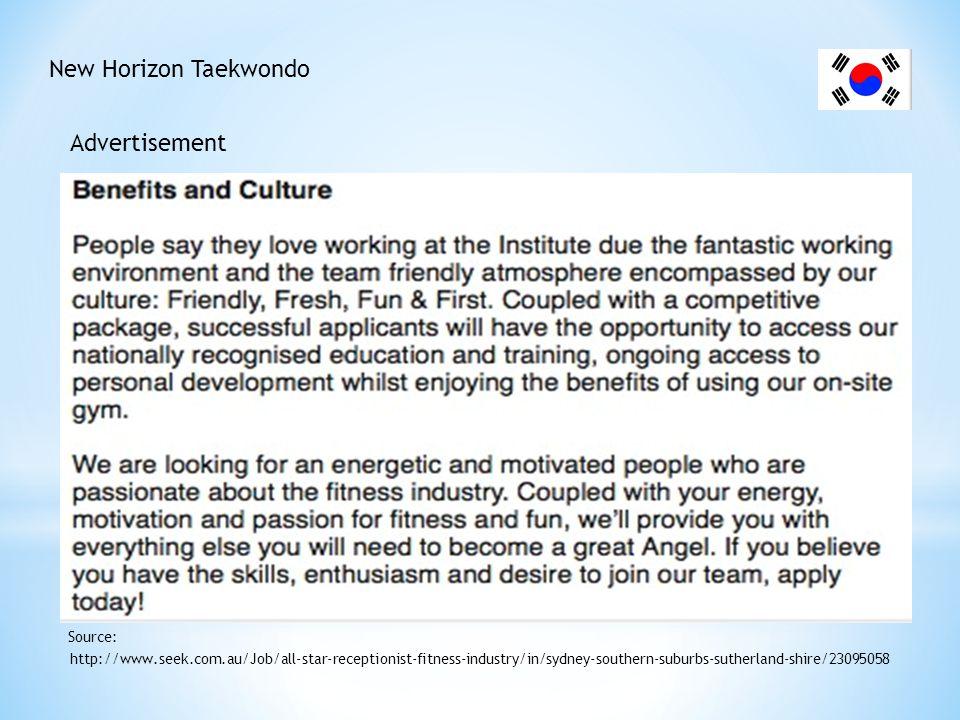 New Horizon Taekwondo Advertisement http://www.seek.com.au/Job/all-star-receptionist-fitness-industry/in/sydney-southern-suburbs-sutherland-shire/2309
