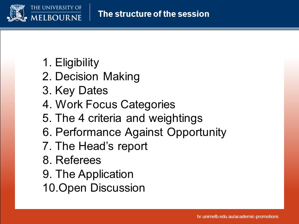 The structure of the session 1. Eligibility 2. Decision Making 3. Key Dates 4. Work Focus Categories 5. The 4 criteria and weightings 6. Performance A