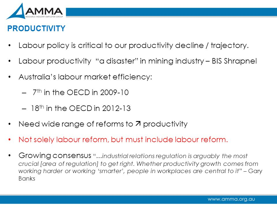 """PRODUCTIVITY Labour policy is critical to our productivity decline / trajectory. Labour productivity """"a disaster"""" in mining industry – BIS Shrapnel Au"""