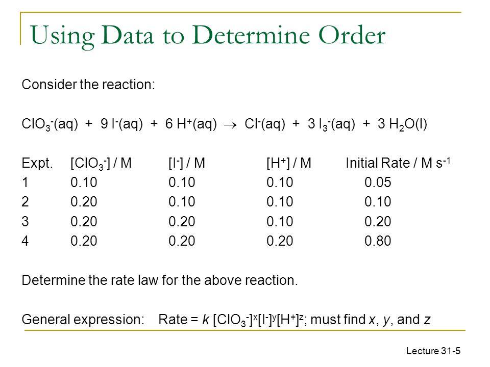 Lecture 31-5 Consider the reaction: ClO 3 - (aq) + 9 I - (aq) + 6 H + (aq)  Cl - (aq) + 3 I 3 - (aq) + 3 H 2 O(l) Expt.[ClO 3 - ] / M[I - ] / M[H + ]