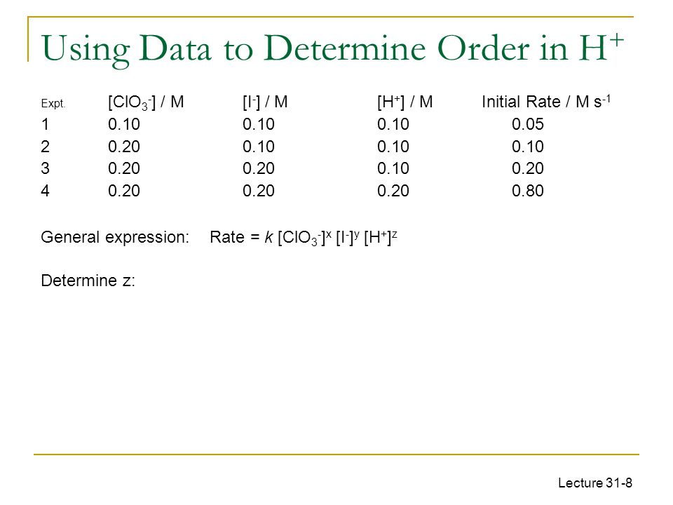 Lecture 31-8 Using Data to Determine Order in H + Expt. [ClO 3 - ] / M[I - ] / M[H + ] / M Initial Rate / M s -1 10.100.100.100.05 20.200.100.100.10 3