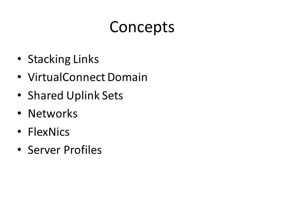 Concepts Stacking Links VirtualConnect Domain Shared Uplink Sets Networks FlexNics Server Profiles