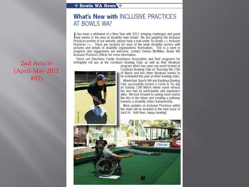 2nd Article (April-May 2011 #81)