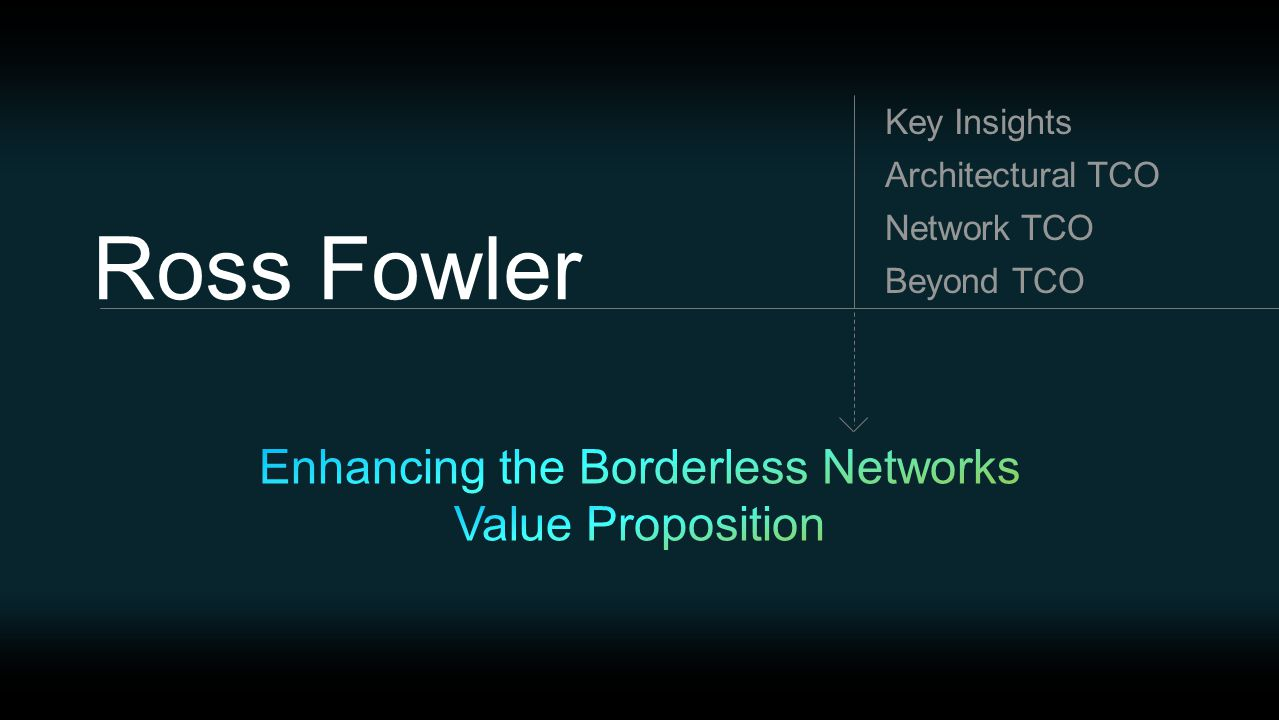 Ross Fowler Beyond TCO Network TCO Architectural TCO Key Insights