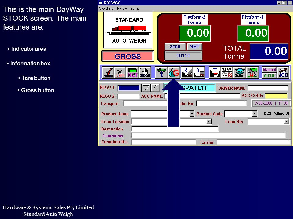 This is the main DayWay STOCK screen. The main features are: Indicator area Information box Hardware & Systems Sales Pty Limited Standard Auto Weigh T