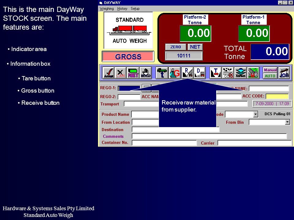 This is the main DayWay STOCK screen. The main features are: Indicator area Information box Receive raw material from supplier. Hardware & Systems Sal