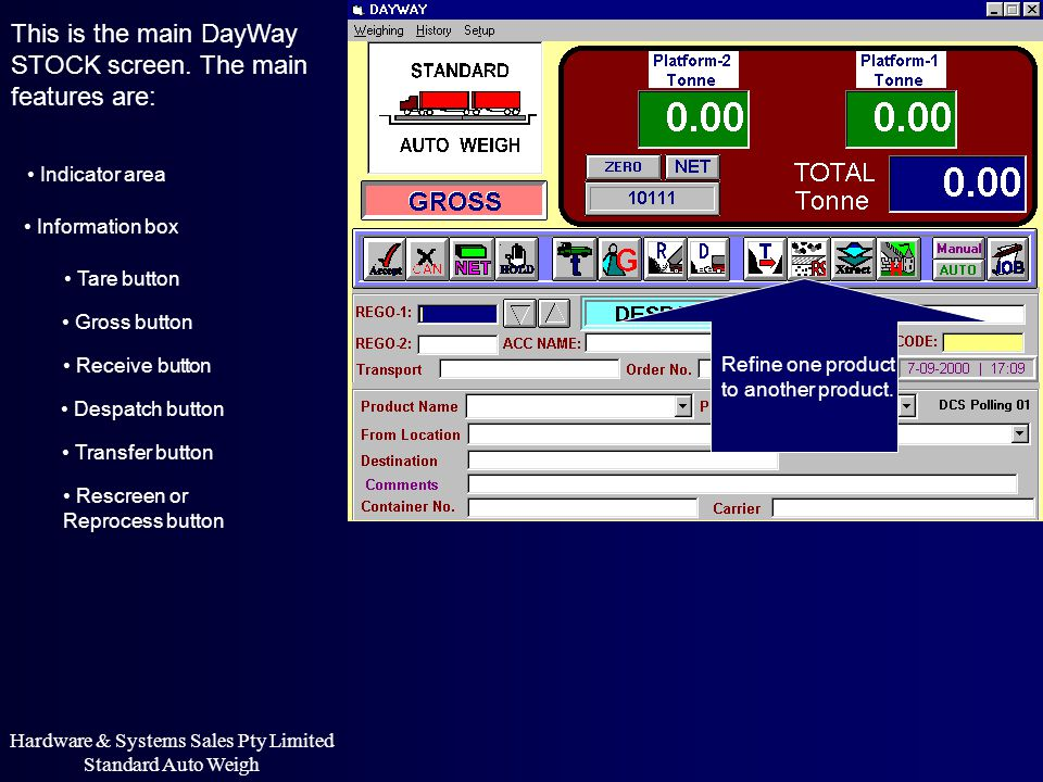This is the main DayWay STOCK screen. The main features are: Indicator area Information box Refine one product to another product. Hardware & Systems