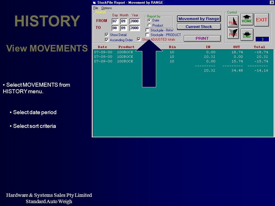 Hardware & Systems Sales Pty Limited Standard Auto Weigh HISTORY Select sort criteria Select date period View MOVEMENTS Select MOVEMENTS from HISTORY