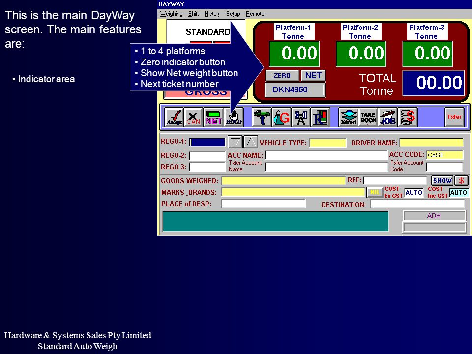 This is the main DayWay screen. The main features are: Indicator area 1 to 4 platforms Zero indicator button Show Net weight button Next ticket number