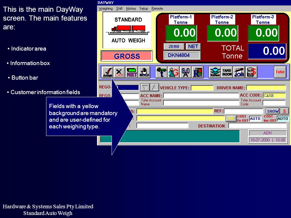 Hardware & Systems Sales Pty Limited Standard Auto Weigh HISTORY View MOVEMENTS Select MOVEMENTS from HISTORY menu.