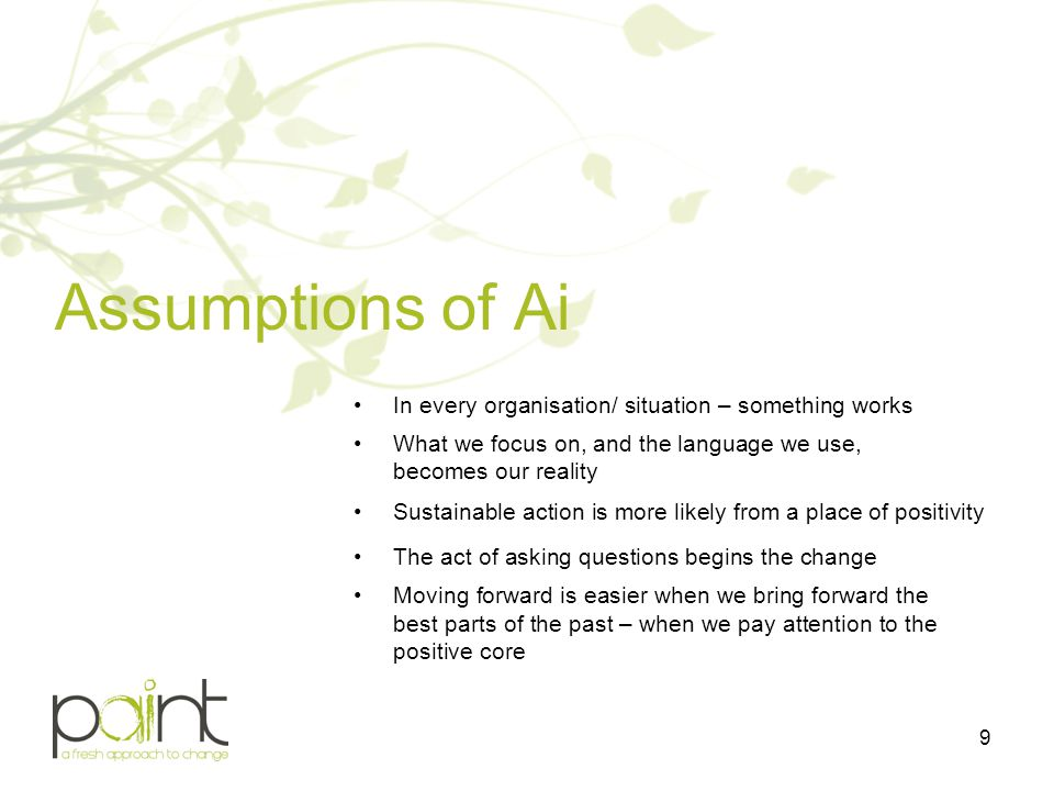 Assumptions of Ai In every organisation/ situation – something works What we focus on, and the language we use, becomes our reality Sustainable action