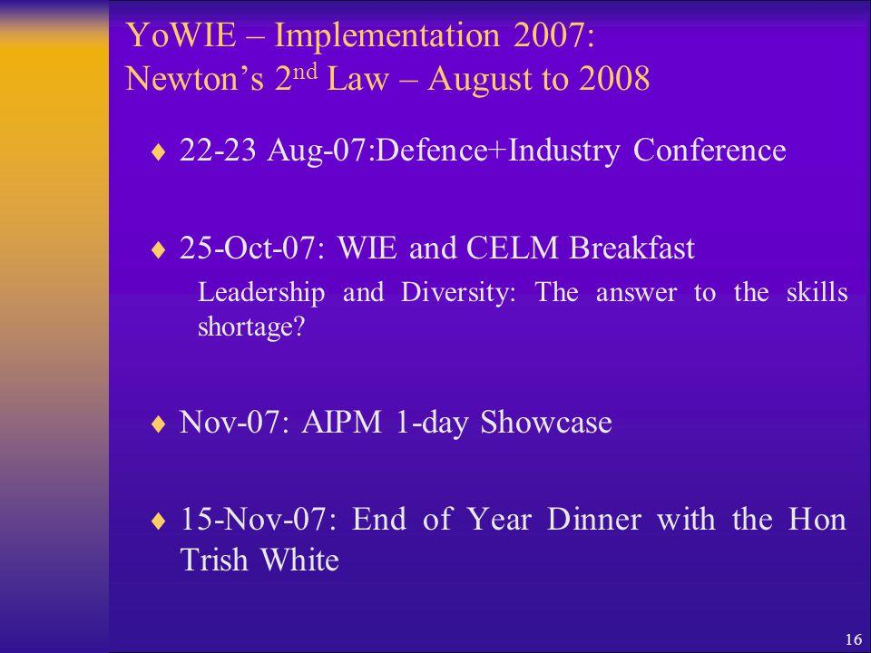 16 YoWIE – Implementation 2007: Newton's 2 nd Law – August to 2008  22-23 Aug-07:Defence+Industry Conference  25-Oct-07: WIE and CELM Breakfast Lead