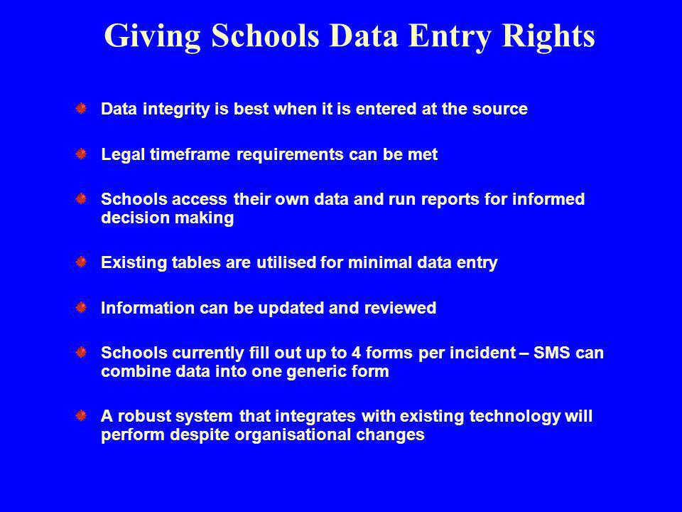 Giving Schools Data Entry Rights Data integrity is best when it is entered at the source Legal timeframe requirements can be met Schools access their own data and run reports for informed decision making Existing tables are utilised for minimal data entry Information can be updated and reviewed Schools currently fill out up to 4 forms per incident – SMS can combine data into one generic form A robust system that integrates with existing technology will perform despite organisational changes