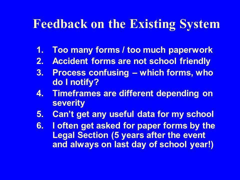 Feedback on the Existing System 1.Too many forms / too much paperwork 2.Accident forms are not school friendly 3.Process confusing – which forms, who do I notify.
