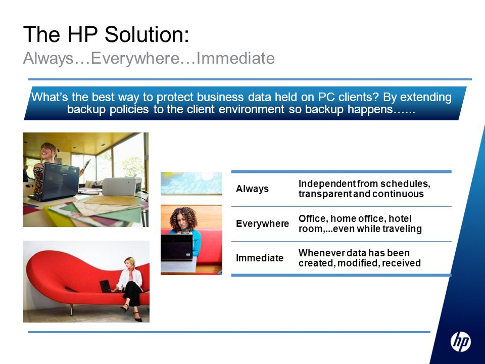 The HP Solution: Always…Everywhere…Immediate Always Independent from schedules, transparent and continuous Everywhere Office, home office, hotel room,