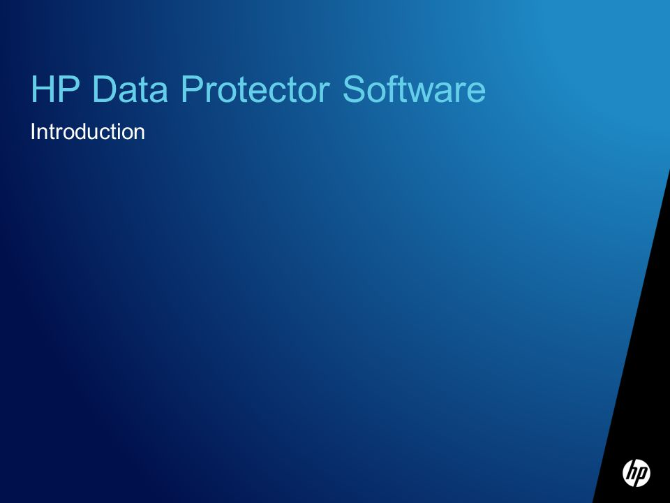 HP Data Protector Software Introduction
