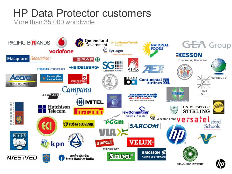 HP Data Protector customers More than 35,000 worldwide